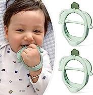 宝宝出牙玩具 - 2 件装不含 BPA 硅胶大象牙胶,适合 0-6 个月婴儿安抚宝宝牙龈(*)