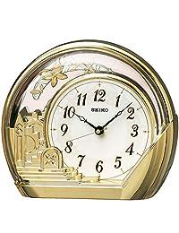 セイコークロック 置き時計 金色光沢 本體サイズ:18.4×21.2×7.5cm アナログ 飾り振り子 PW428G