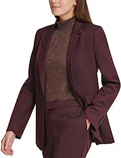 DKNY 女士单扣外套 - 黑色紫红色尺码 2