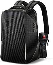防盗笔记本电脑背包,Fintie TSA 友好锁防水帆布背包,带 RFID 保护,USB 端口适用于旅行商务学校户外日背包男士适合 15.6 英寸笔记本电脑,黑色