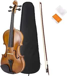 JMFinger 4/4 全尺寸维利昂,手工制作原声小提琴初学者套件,带硬质泡沫盒子,蝴蝶结,松香,非常适合儿童初学者