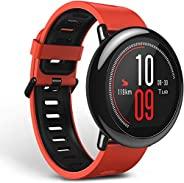 Amazfit PACE GPS 运行智能手表,电池电量可维持 11 天 - 黑色表带 红色