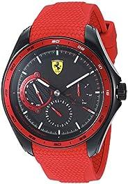 Ferrari 男式 SPEEDRACER 不銹鋼石英手表硅膠表帶,紅色,22 (型號:0830681)