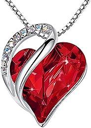 "Leafael ""Infinity Love 心形吊墜項鏈施華洛世奇水晶誕生石首飾,送給女士,銀色,45.72 厘米+5.08 厘米),紐"
