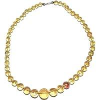 Sunny Crystal 正品琥珀项链圆形串珠天然手工制作正宗精品宝石水晶珠宝 AMBN001