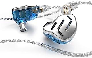 KZ Zax 金属耳机 1DD+7BA 16 驱动 HiFi 低音耳塞 技术耳机 HiFi 入耳式耳机 降噪耳塞 运动耳机 (无麦克风,蓝色)
