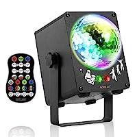 派对迪斯科灯 AOELLIT 迪斯科镜球灯 DJ 频闪灯 声效激活 RGB LED 舞台灯 适用于室内派对 生日 DJ 酒吧 卡拉 OK 圣诞婚礼秀 俱乐部 带定时遥控器