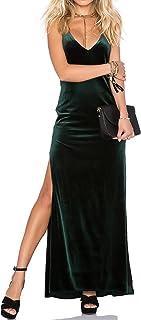 Capuffy 女式 V 领细肩带超长连衣裙露背裹身侧开叉天鹅绒鸡尾酒会礼服 72040