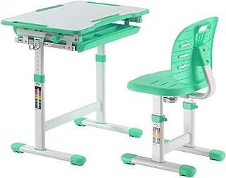 书桌和椅子套装 – 高度可调节儿童学习桌 – 舒适的学生办公桌 – 适合写作家庭作业的小艺术工作台 (*)