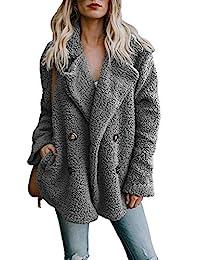 Zeagoo 女式冬季保暖人造毛皮大衣长袖开衫男友羊毛绒夹克带口袋