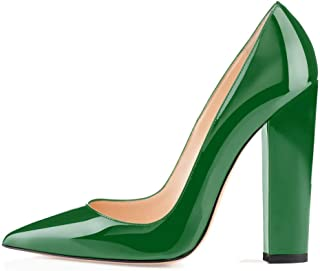 Sammitop 女式粗跟高跟鞋尖头一脚蹬派对礼服鞋