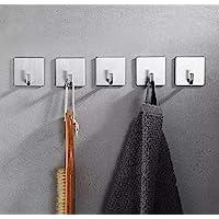 自粘挂钩,Hiendure 304 不锈钢挂钩,适用于浴室、厨房和办公室,重型 5 件