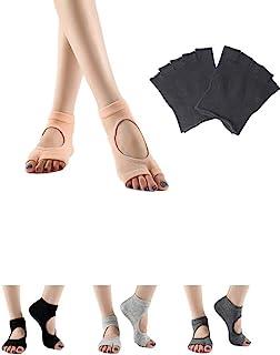 女式瑜伽袜 5 双无趾防滑防滑防滑袜,非常适合普拉提、酒吧、芭蕾舞蹈
