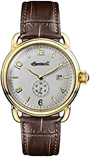 Ingersoll Men's Quartz Watch with Black Dial Analogue Display and Brown Leather Strap I0