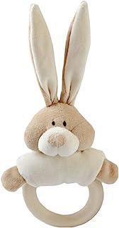 Wooly *柔软玩具兔子摇铃,带木制牙胶(3 个月以上,米色)