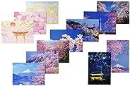 Pinapp 人气图案 明信片 12种 各1张 共12张 套装 樱花