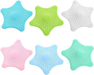 6 件硅胶排水接发器 - 厨房水槽滤网 - 浴室淋浴水槽塞 - 排水盖发圈,厨房浴室浴缸过滤器,六角海星(6 种颜色)