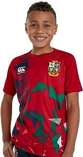 Canterbury of New Zealand 中性青年英国和爱尔兰狮子橄榄球超轻图案 T 恤,探戈红,8