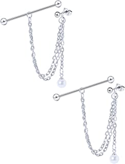 Dyknasz 不锈钢工业耳环带链吊坠工业穿孔珠宝耳钉耳环工业杠铃 适合女士男士