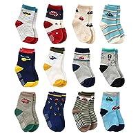 12 雙裝男幼童夾襪,嬰兒襪,男孩家居襪防滑