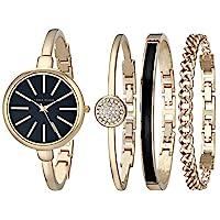 ANNE KLEIN AK / 1470GBST 女士腕表手鐲套裝,玫瑰金色調,配有施華洛世奇水晶手鐲,金色/黑色