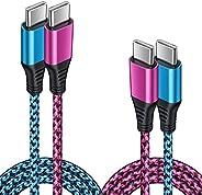 C 充电至 USB C 数据线快速充电,6FT/2PACK PD 充电器3.0 Amp C 型电源线适用于 iPad Pro 12.9/11 英寸、iPad Air 4、Samsung Galaxy S21 Ultra