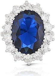 JanKuo Jewelry 皇家家庭 Kate Middleton 訂婚靈感戒指藍色藍寶石色 CZ