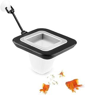 水族馆鱼喂食环浮动食物喂食圈带吸盘,易于安装,圆形方形和圆形,血蠕虫膳食蠕虫适用于 Betta Guppy 金鱼