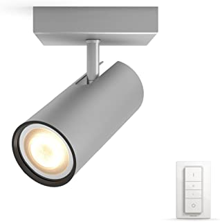 Philips 飞利浦 Hue LED 射灯 Buratto 扩展版 可调光 深浅不一的白色 可通过应用程序控制 银色 兼容 Amazon 亚马逊 Alexa (Echo Echo Dot) 银白色 10.199999999999999  x ...