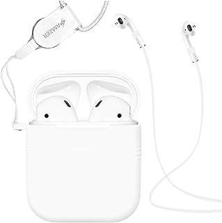 AirPods 手机壳硅胶保护套和皮肤,适用于苹果Airpods,带Airpod 皮带和颈绳AMZ202738 白色
