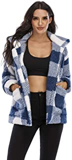 女式时尚长袖拉链翻领人造毛皮外套冬季超大号羊毛夹克带口袋
