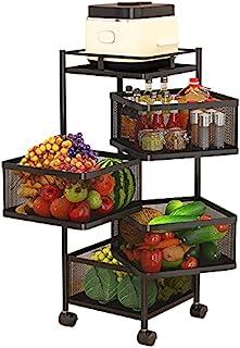 GNCNSHK 旋转多层厨房架 方形分层架 厨房储物架 旋转蔬菜架 落地架 厨房 客厅 浴室 (4层)