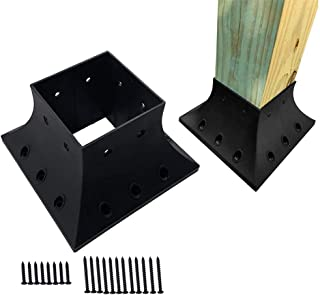 vikofan 4x4(实际 3.5x3.5)英寸甲板柱支撑锚基座支架带螺丝,适用于扶手法兰快速安装底座盖裙边锚(数量 4,黑色)