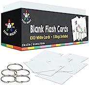 星形右空白抽认卡 - 5 个环,1000 个索引卡,2x3 - 用于学校用品、笔记卡、学习、*、食谱卡等 Blank Flash Cards