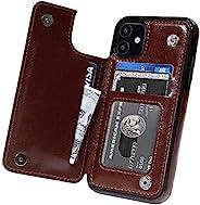MIDOLA 钱包手机壳带卡包 iPhone 12 Mini,翻盖手机钱夹优质 PU 皮革支架卡槽,双磁性耐用防震盖黑色棕色玫瑰红
