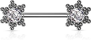 Dynamique 316L *钢无螺纹推入式乳头杠铃,每侧均带有 CZ 中心星星簇(每对出售或单件)