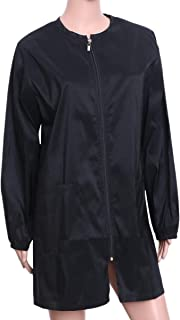 Lurrose 沙龙长袍理发师工作围裙防水发型师拉链罩适合沙龙*师- 尺码 M