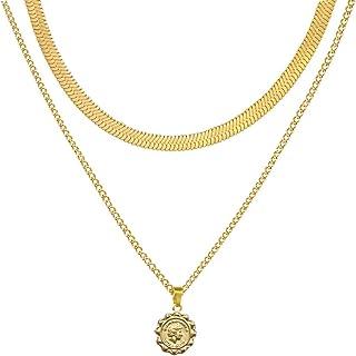 AUMIAU 女士颈链,精致的 14K 镀金分层硬币邪眼猫头鹰颈链项链,简约可爱蛇链链链项链女士小号短款项链,适合少女佩戴