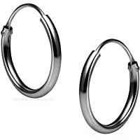 纯银小端无端 1.2mm x 12mm 圆形中性款环状耳环各种颜色