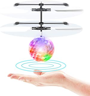SHATCHI 飞行遥控玩具 儿童 男孩 女孩 礼物 可充电 发光球 无人机 红外线 感应 直升机 带遥控器 适合室内和室外游戏 多色