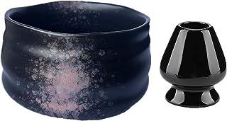Matcha 陶瓷茶碗 + 抹茶搅拌架适合传统日本茶典礼(黑色和粉色)