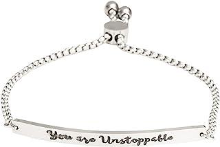 A N KINGPiiN You are Unstoppable 手链可调节链环条手镯个性化女权主义鼓励激励礼物女朋友