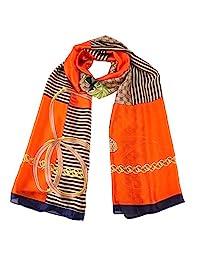 女式时尚丝绸般围巾披肩,大号 70x35 英寸(约 177.8x88.9 厘米),手工精美绘画