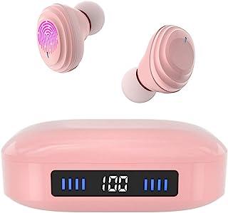 无线耳塞带沉浸式声音真 5.0 蓝牙入耳式耳机,带 2000 mAh 充电盒,易于配对立体声通话/触摸控制/内置 Micro/IPX7 防水/深低音运动(粉色)