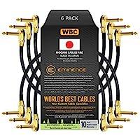 6 支 - 25.40 cm - 踏板、效果、补丁、仪器电缆定制 由 WORLDS BEST CABLES 制作 - 使用 Mogami 2524 电线和 Eminence 镀金 1⁄4 英寸 (6.35mm) R/A 煎饼类型连接器