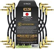 6 支 - 25.40 cm - 踏板、效果、补丁、仪器电缆定制 由 WORLDS BEST CABLES 制作 - 使用 Mogami 2524 电线和 Eminence 镀金 1⁄4 英寸 (6.35mm) R/A