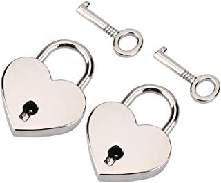 TOPINCN 2 套心形挂锁和骨架钥匙金属锁心形锁 适用于书首饰盒 储物盒 日记行李袋 礼物