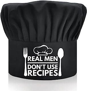 DYJYBMY Real Men Don't Use Recipes,成人可调节厨房烹饪帽,带弹性带厨师贝克帽黑色,有趣的烧烤厨师帽,适合男士,爸爸,丈夫,烧烤烧烤礼品
