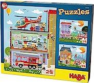 HABA 304186 小小消防队拼图 3 个拼图 每个包含 24 块拼图 3 种不同的消防主题 为 4 岁以上儿童带来拼图乐趣
