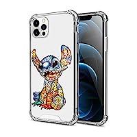 DISNEY COLLECTION 水晶透明設計,適用于 iPhone 12 Pro Max 手機殼,彩色縫制 PC + TPU 超薄防震透明防撞保護套,適用于 iPhone 12 Pro Max 6.7 英寸 2020